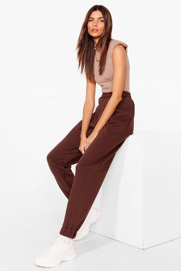 Chocolate High Waisted Cuffed Oversized Joggers