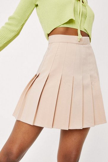 Beige High Waisted Relaxed Pleated Mini Skirt