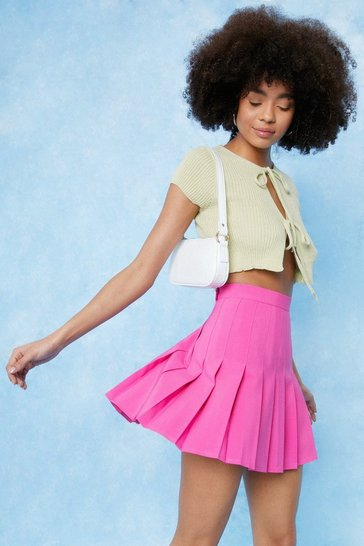 Hot pink High Waisted Relaxed Pleated Mini Skirt