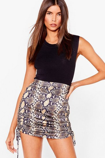 Brown snake print ruched side mini skirt
