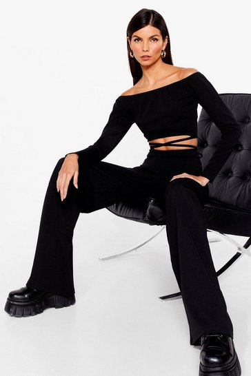 Black Baby Tie Got It Crop Top and Wide-Leg Pants Set