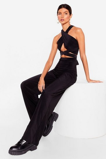 Black Get It Together Halter Top and Wide-Leg Pants Set
