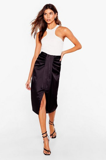 Black Satin Knot Front High Waisted Midi Skirt