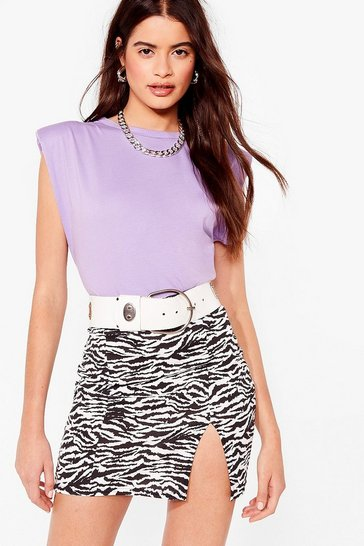 Black Tell 'Em to Slit Down Zebra Mini Skirt