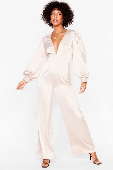 Champagne Plunge Straight In Satin Wide-Leg Jumpsuit