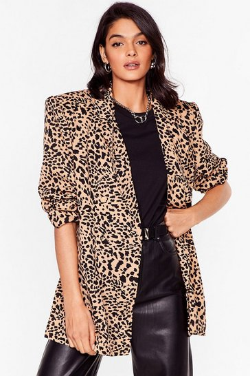 Brown Leopard Print Puff Sleeve Blazer