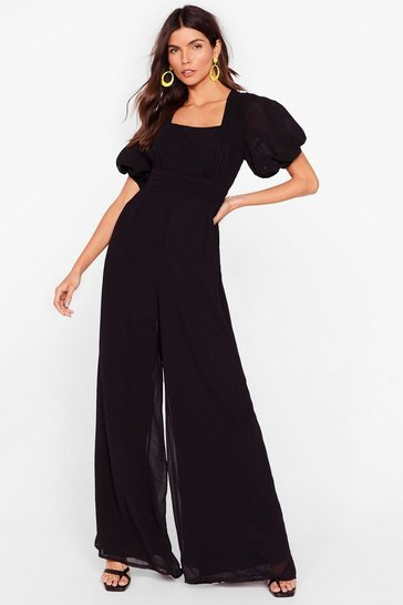 Black In Our Stride Puff Sleeve Wide-Leg Jumpsuit