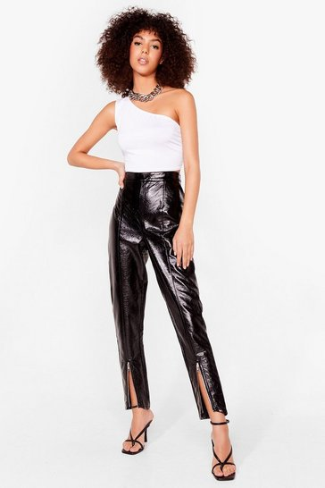 Black Our Zips Are Sealed High-Waisted Vinyl Pants