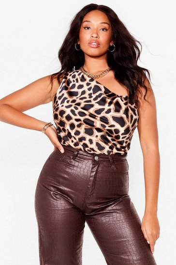 Brown I'm a Wild One Plus Giraffe Cami Top