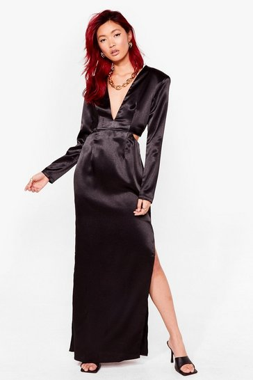 Black Cut Out V Neck Satin Maxi Dress