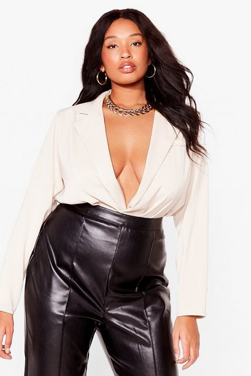 Cream Plus Size V Neck Shirt Bodysuit