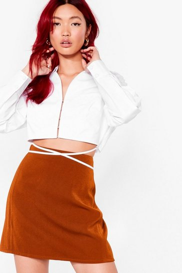 Chocolate A Line High Waisted Mini Skirt