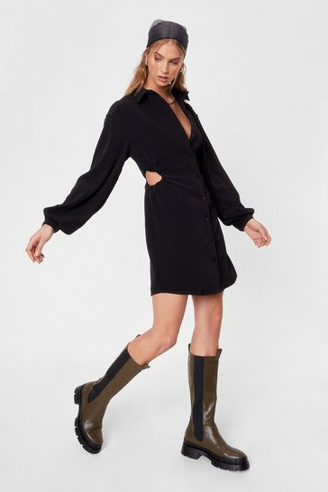 Black Lights Cut-Out Mini Shirt Dress