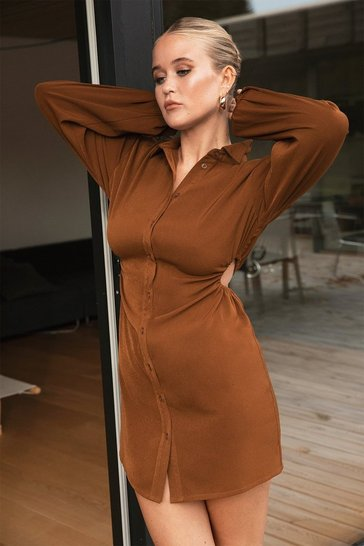 Chocolate Missing in Action Cut-Out Shirt Dress