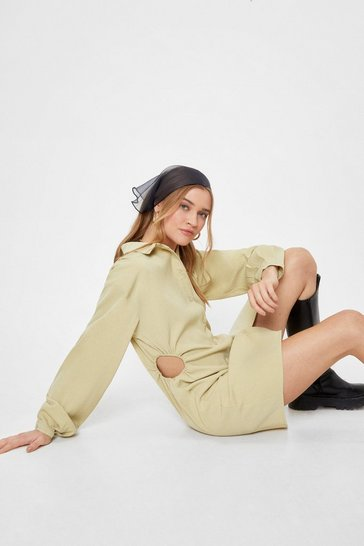 Sage Lights Cut-Out Mini Shirt Dress