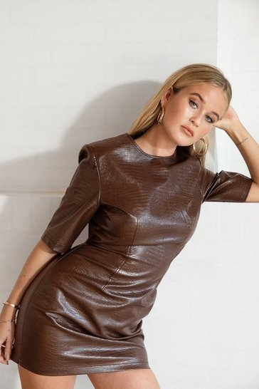 Chocolate You Croc the Love Faux Leather Mini Dress