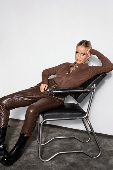 Chocolate You Croc the Love Faux Leather Pants
