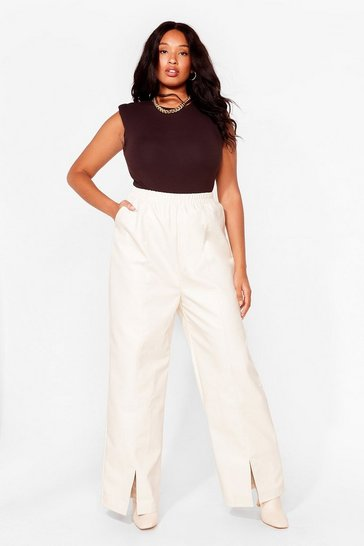 Grande taille - Pantalon large fendu en similicuir Froc 'n' Roll, Cream