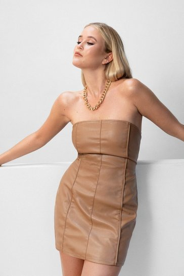 Brown Faux Leather Let Me Go Strapless Mini Dress