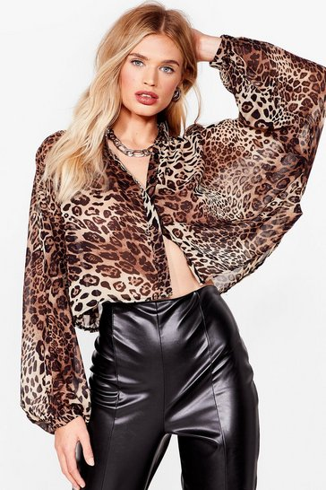 Brown Get Chiffon With It Leopard Cropped Blouse
