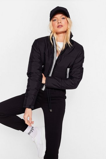 Black Nasty Gals Do It Better Cropped Padded Jacket