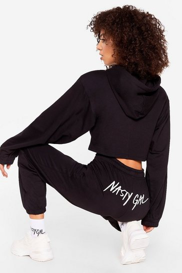 Black Nasty Gal Word on the Street Embroidered Joggers