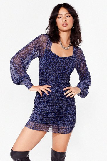 Blue Don't Stop Me Meow Leopard Mini Dress