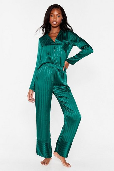 Emerald It's Been a Jacquard Day Satin Pajama Pants Set