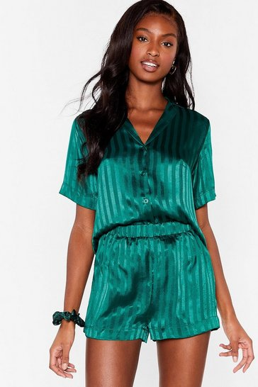 Emerald Jacquard Stripe PJ Short Set