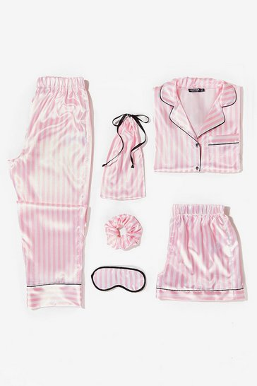 Pink Just Satin Bed 6-Pc Striped Pajama Set