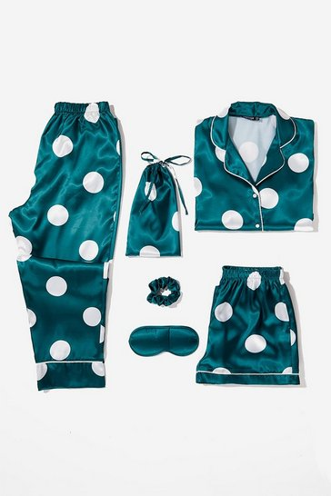 Emerald My Spotlight 6-Pc Satin Polka Dot Pajama Set