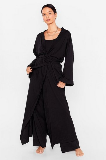 Stone Best Thing's Come in 3-Pc Cami Trousers and Dressing Gown Set