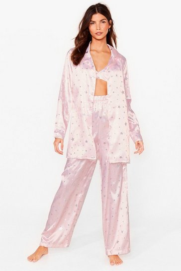 Pink Sleeping Under the Stars Satin Pajama Pants Set
