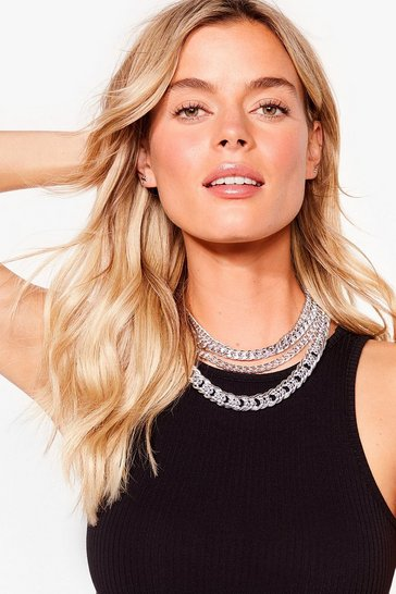 Silver Kick 'Em to the Curb Layered Chain Necklace
