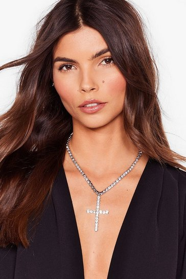 Silver Don't Cross Me Diamante Chain Necklace