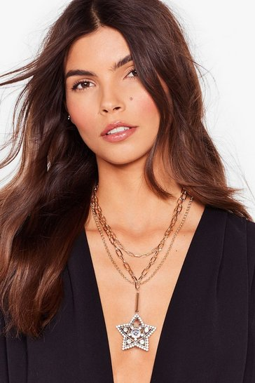 Gold Party Star-ter Diamante Chain Necklace