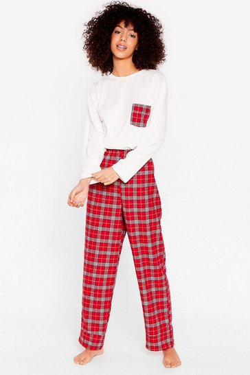 Red Get Some Sleep Check Pajama Pants Set