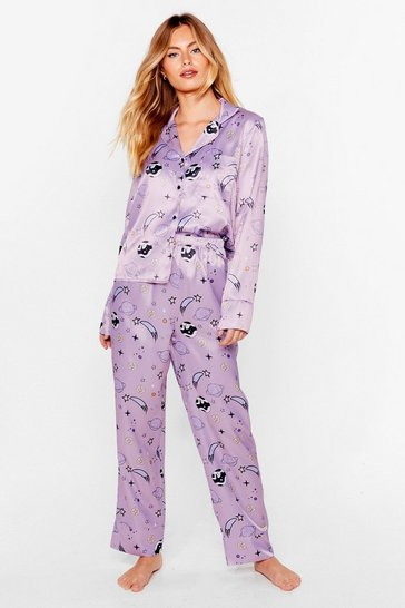 Lilac What Planet Are You On Satin Pajama Set