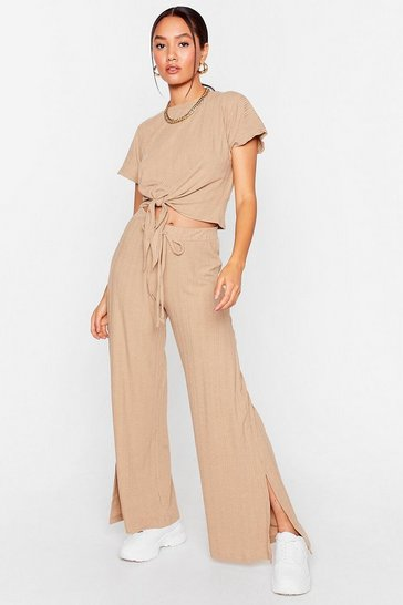Stone We Petite Again Ribbed Top and Slit Pants Set