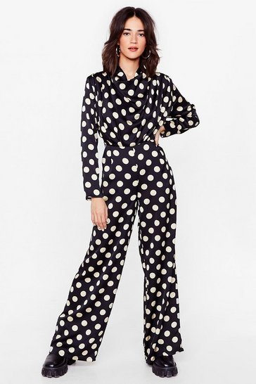 Black Next Spot Petite Wide-Leg Jumpsuit