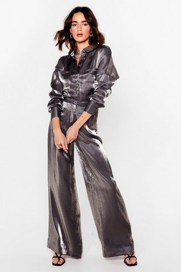 Charcoal Your Shine is Now Petite Wide-Leg Pants
