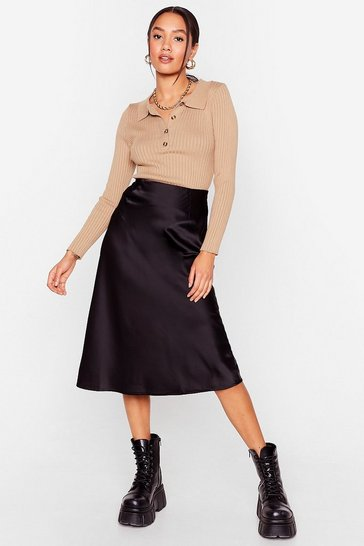 Black Just My Type Petite Satin Midi Skirt