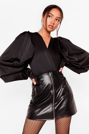 Black You Said Zip Petite Faux Leather Skirt