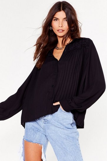 Black Get a Move On Pleated Button-Down Shirt