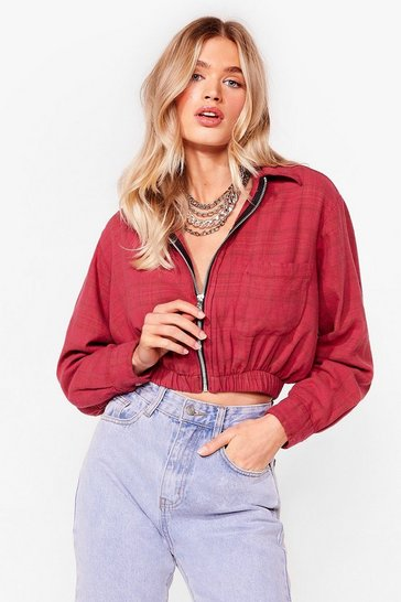 Red Nasty Gal Vintage Zip Right Through Check Jacket