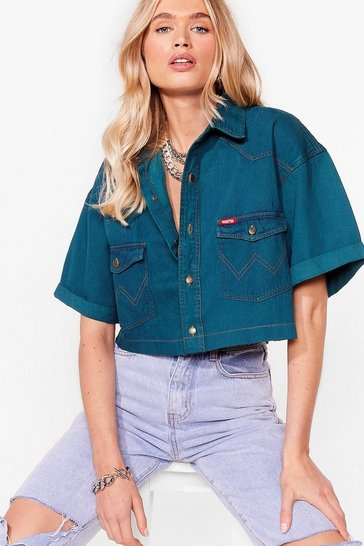 Emerald Vintage Short Sleeved Cropped Denim Shirt
