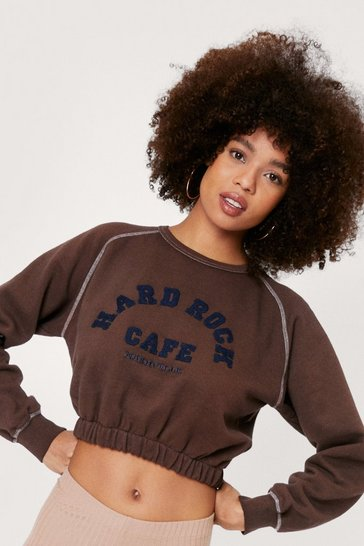 Chocolate Vintage Cropped Crew Neck Graphic Sweatshirt