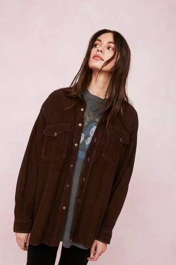 Chocolate Vintage Oversized Button Down Corduroy Shirt