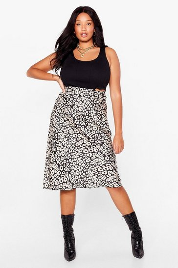 Black Let's Go Wild Plus Midi Skirt