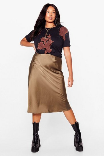 Khaki Just My Type Plus Satin Mini Skirt